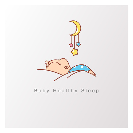 Healthy baby sleep at night. Child sleep on pillow under blanket, crib with mobile. Illustration