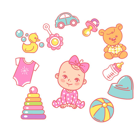 Kids toys, elements and objects. Bodysuit, potty, teddy bear. Baby shower cards for girl. It is a girl. Illustration