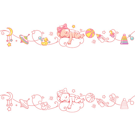 Seamless ornamental border with baby objects and toys. Stock Illustratie