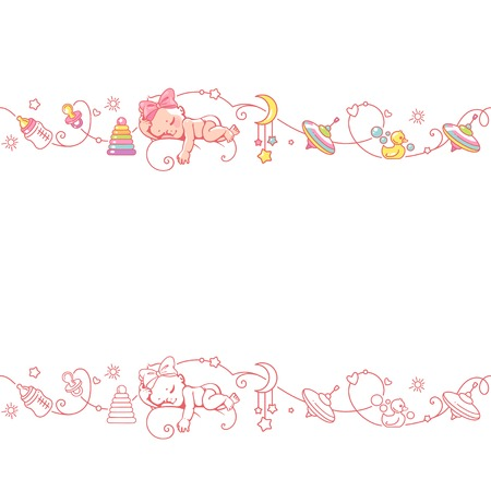 Seamless ornamental border with baby objects and toys. Illustration