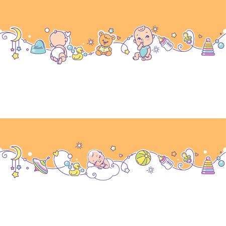 Nahtlose Grenze mit dem Spielen von Babys, Mädchen und Spielzeug.