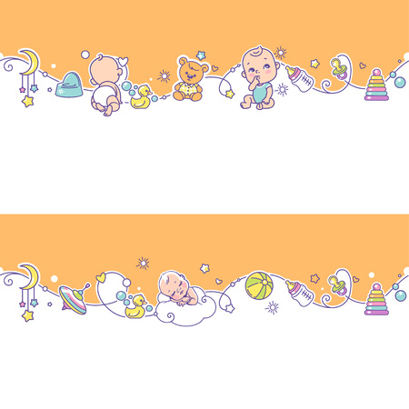 Seamless border with playing baby boys, girls and toys.