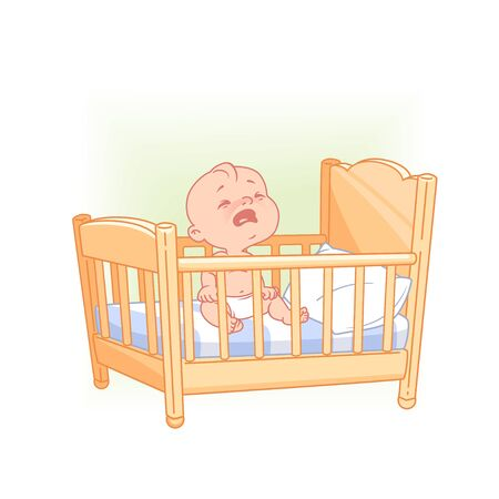 Cute little baby sit awake crying in bed.