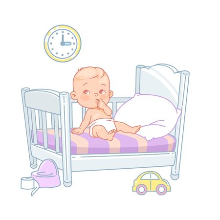 Cute little baby sit awake in bed. Illustration
