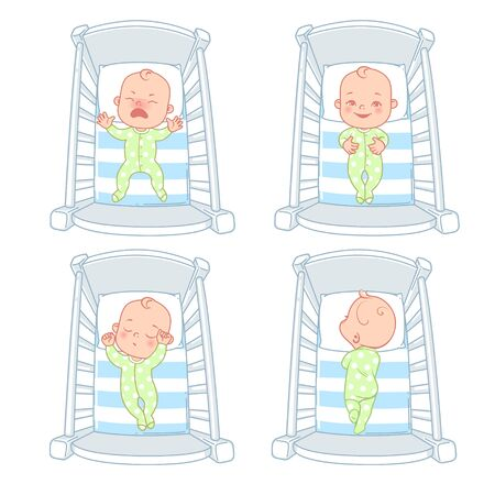 Cute little baby in bed. Set of illustrations. Ilustração