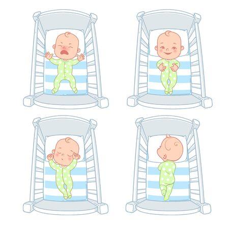 Lindo bebé en la cama. Conjunto de ilustraciones. Ilustración de vector