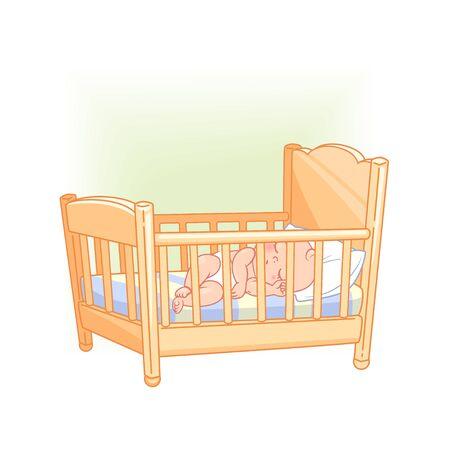 Cute little baby sleep in bed. Healthy sleep.