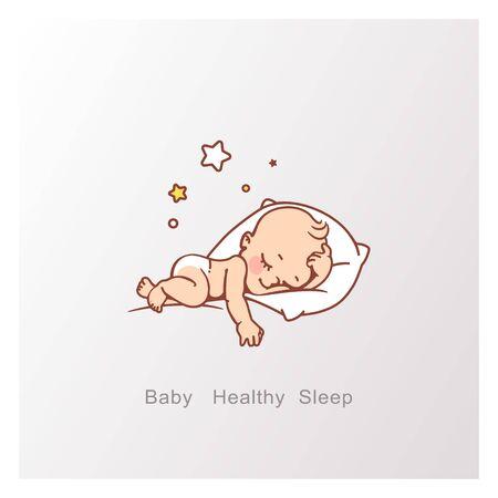 Piccolo neonato o ragazza sveglio che dorme. Vettoriali