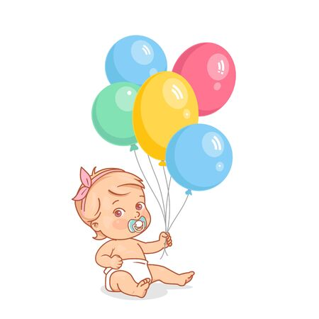 Cute little baby girl with bunch of hot air balloons in hand.
