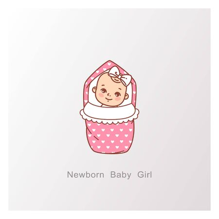 Baby shower design. It is a girl template. Иллюстрация