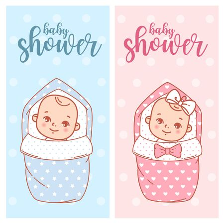 Baby shower design. Newborn baby girl and boy in swaddle, blanket. 일러스트