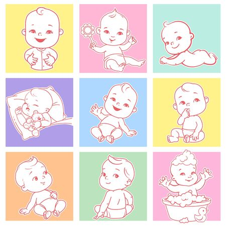 Set with cute little babies of 3-15 months,