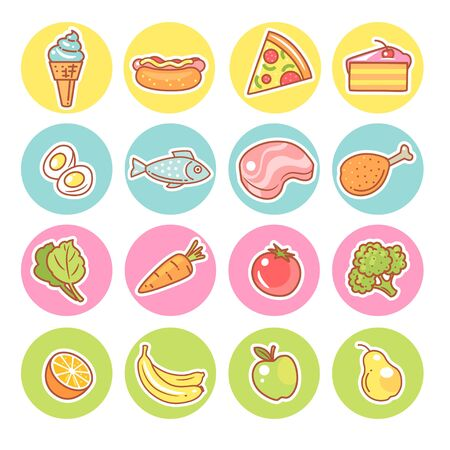 Set of food icons. Collection of product objects.
