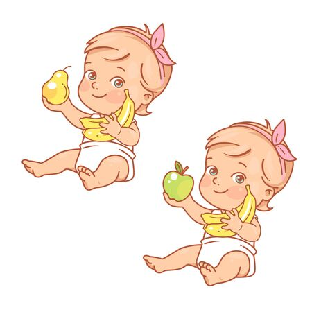 Cute little baby girl hold apple, banana and pear.