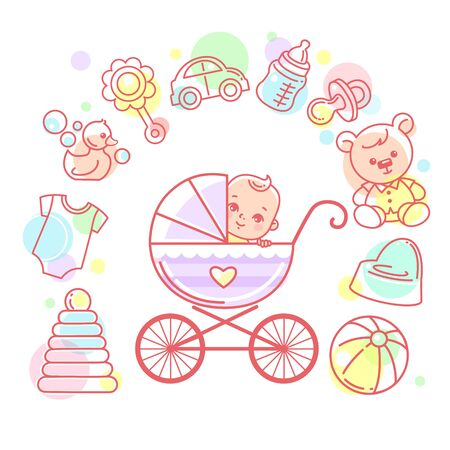 Baby in carriage. Baby stroller and kids objects around. Иллюстрация