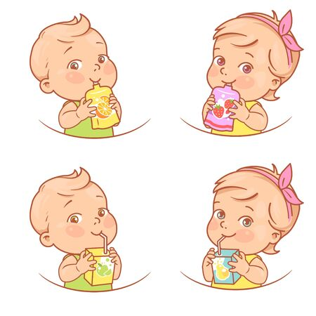Little girl and boy drink juice, eat fruit puree. Иллюстрация