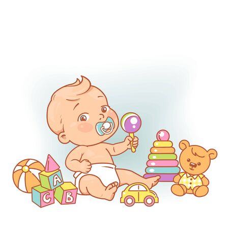 Active boy play on floor.. Cute toddler child with pacifier, rattle in hand and toys. Color vector illustration.
