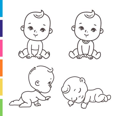 Cute little boy icon set. Coloring page of outline  stickers of little baby boy