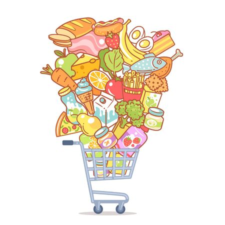 Different food objects. Healthy nutrition and fast food concept. Shopping carriage with products, food isolated. Color vector illustration.