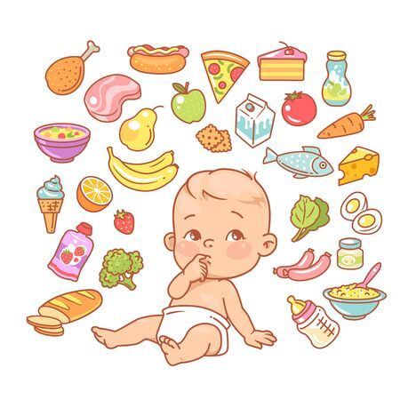 Curios child with finger in mouth choosing food.  イラスト・ベクター素材
