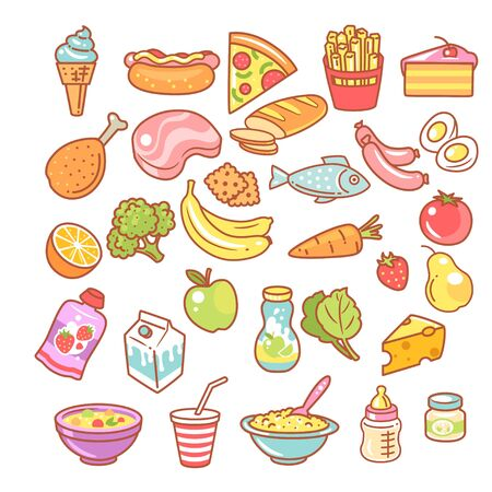 Set of food icons. Collection of product objects