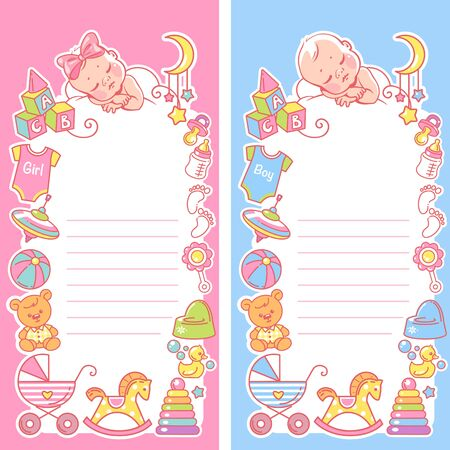 Baby sleep on cloud. Baby shower template for boy and girl.
