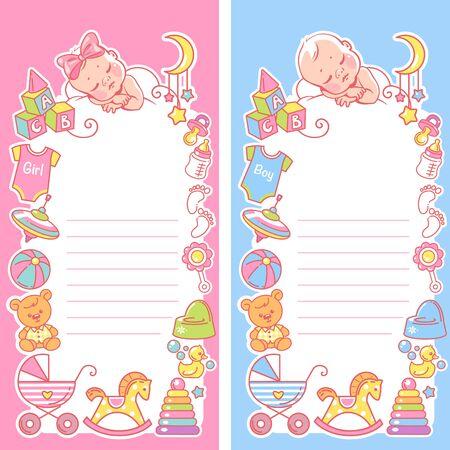 Baby sleep on cloud. Baby shower template for boy and girl. Standard-Bild - 128906687