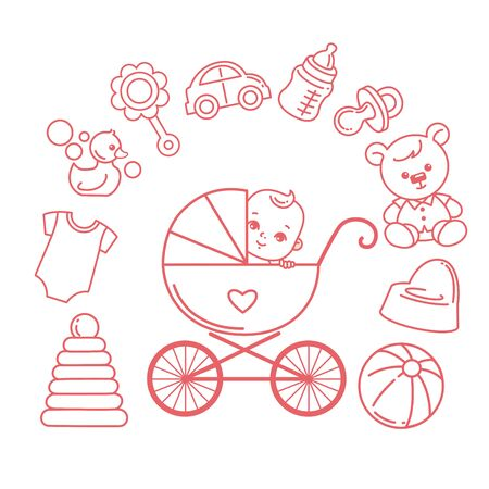 Baby in carriage. Baby stroller and kids objects around. Stock Illustratie