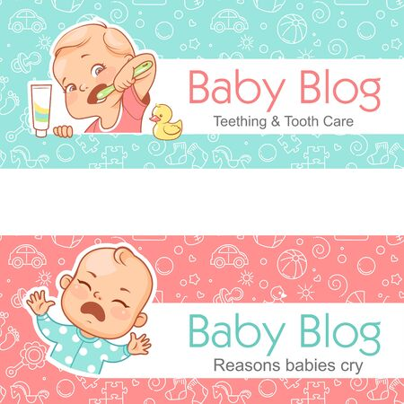 Baby blog banner. Teething. tooth care. Baby cry. Standard-Bild - 128906692