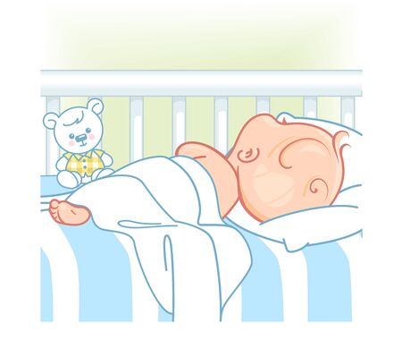 Pretty child in pajamas sleep at night. Healthy sleep. White bed, pillow and sheets. Sweet baby boy with teddy bear and toys. Kids bedroom. Color vector illustration. Çizim