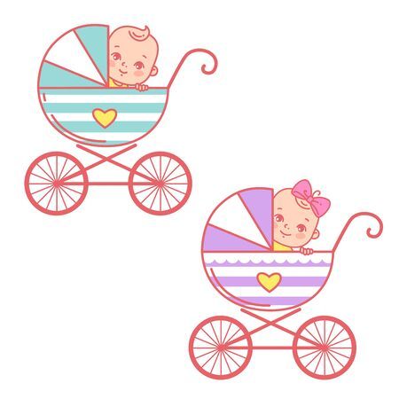 Baby boy and girl in carriage. Baby stroller and kids objects around.