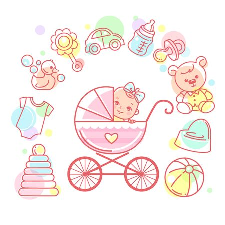 Baby in carriage. Baby stroller and kids objects around. Standard-Bild - 128906696
