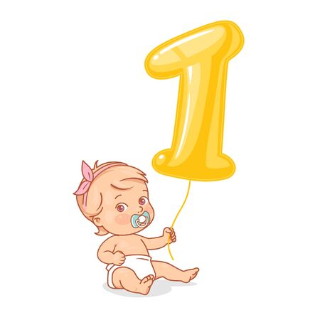 Baby in diaper holding bright balloon as big golden number 1. First year birthday. Color vector illustration.
