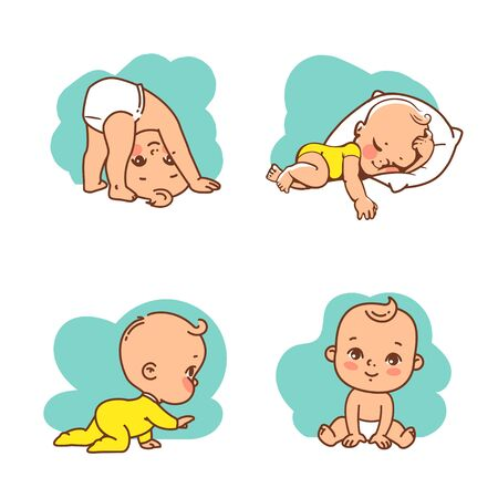 Cute little baby icon set. Child sleeping, sitting, crawling, stand on head. Emblem of kid health. Vector illustration.