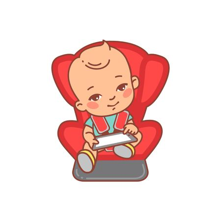 Baby sitting on car seat, play with tablet  イラスト・ベクター素材