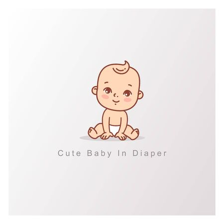 Happy baby girl boy in diaper sitting isolated. Design template. Vector color illustration. Çizim