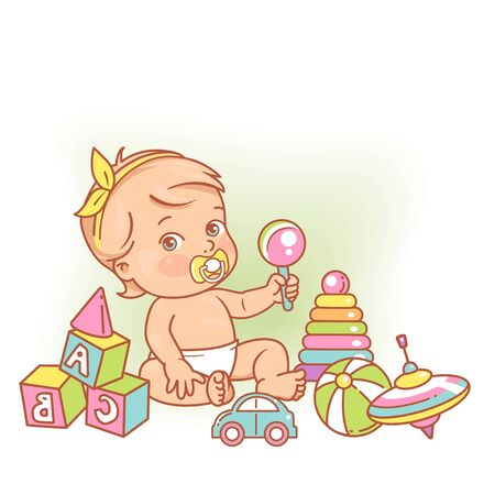 Girl with hair bow. Cute toddler child with pacifier, rattle in hand and toys. Color vector illustration.