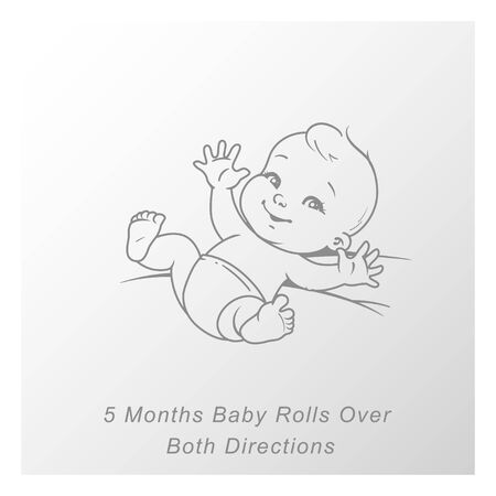Cute little baby boy or girl in diaper lying on his back, rolling over. Sketchy outline monochrome style. Vector illustration. Иллюстрация