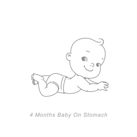 Baby development stages in first year. Cute little baby boy or girl lying on stomach, head up. Sketchy hand drawn style. Background with toys and objects. Vector illustration. Standard-Bild - 128321180