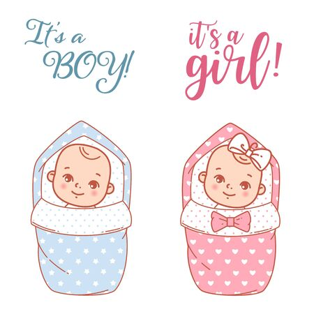 It is a boy. It is a girl. Cute little baby boy and girl in envelope, smiling. Design of shower card. Vector illustration. Standard-Bild - 128604187