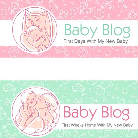 Set of baby illustration. First year growth and activity.