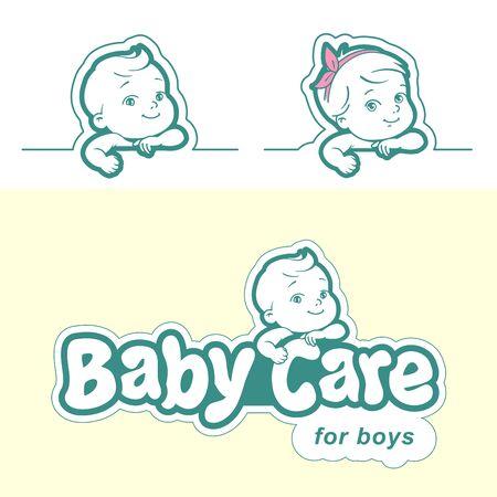Diaper logo template. Baby in diaper emblem. Logó