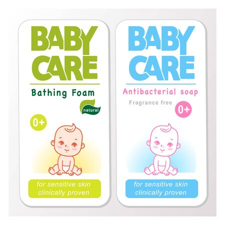 Baby cream logo design template. Baby in diaper emblem. Banco de Imagens - 133329514