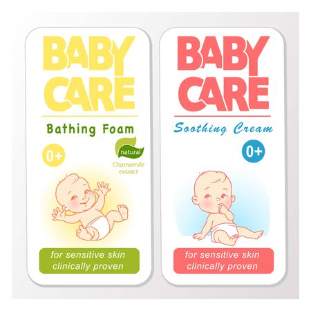 Baby cream logo design template. Baby in diaper emblem. 向量圖像