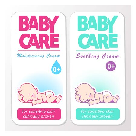 Baby cream logo design template. Baby in diaper emblem.  イラスト・ベクター素材