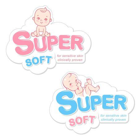Pañal, toallitas húmedas, plantilla de logotipo de jabón. Bebé en emblema de pañal