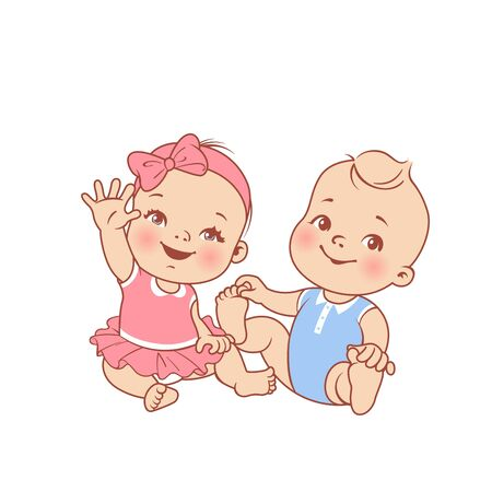 First year. Clothes for children. Baby fashion. Smiling toddler twin girls together. Sisters. Happy baby wave hand. Color vector illustration. Standard-Bild - 128896614