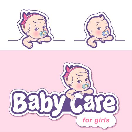 Baby care design template. Logotype with cute little baby in diaper. Standard-Bild - 133956509
