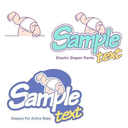 Baby care design template. Logotype with cute little baby in diaper. Standard-Bild - 133956515