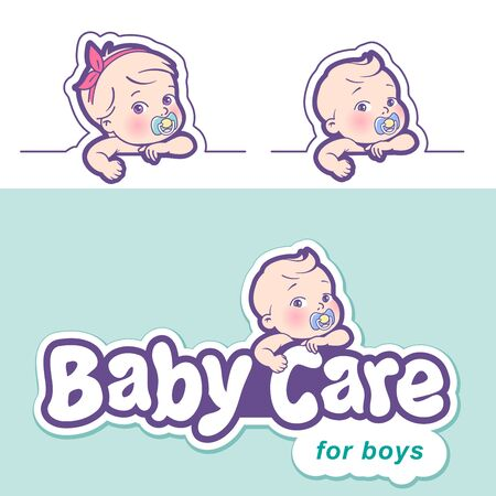 Baby care design template. Logotype with cute little baby in diaper. Standard-Bild - 133956514